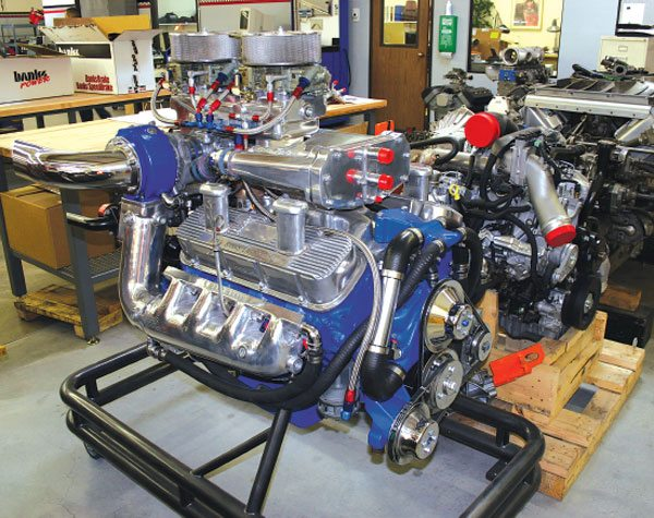 Gale Banks Engineering makes a marine twin-turbo kit for the 454-ci big-block Chevy that produces nearly 900 hp. Note the water-cooled exhaust manifolds, and pull-through carburetor arrangement.
