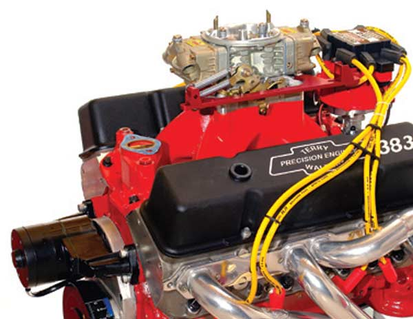 Fig. 4.1. Here is one of my hot street small-block Chevy engines. This one displaces 383 ci (6.28 liters) and dyno'd out at 609 hp (97 hp per liter) and 538 ft-lbs (85.7 ft-lbs per liter). This sort of output for a pump-gas 10.5:1 street-drivable motor of reasonable cost means covering every possible aspect of the power production chain of events. Good mixture quality and distribution are as vital as good airflow.