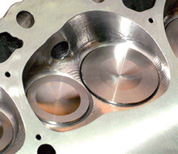 Fig. 2.6. An AFR small-block Chevy combustion chamber. This shape is the result of flow testing and then qualifying it on the dyno.