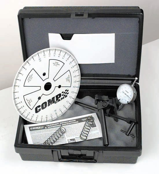 A degree wheel kit contains all the measuring tools required to accurately degree a camshaft.