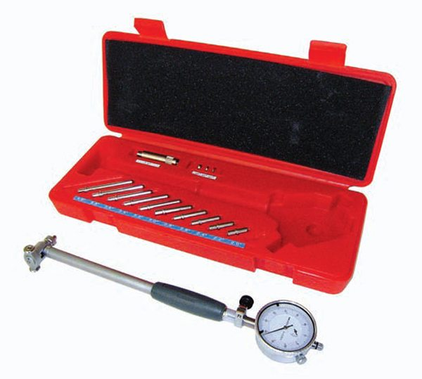 Use a dial bore gauge to check cylinder bore diameter and taper, rod and main bearing diameter, and bearing housing bore diameters. Dial bore gauges read to a tolerance of 0.001 inch.