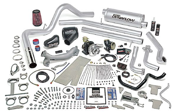 The Banks 7.3-liter diesel turbo system shown is probably one of the all-time best selling turbo retrofit kits there has ever been. This layout illustrates the level of detail that goes into a good turbo system. (Courtesy Gale Banks Engineering)