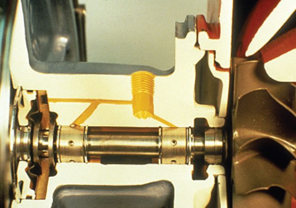 Schwitzer model 4LHR bearing system close-up. The 4LHR uses a separate fed oiling system where separate oil feed passages are drilled for each of the three bronze bearings.