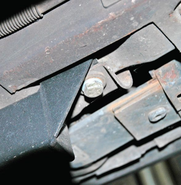 Another view of the rear attachment point of the bolt-in subframe connector.