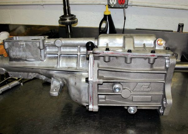 Here is a JT5 Enduro transmission built with G-Force's new heavy-duty T5 case. You can get this case in standard Ford Toploader, GM, and Ford T5 bolt patterns.