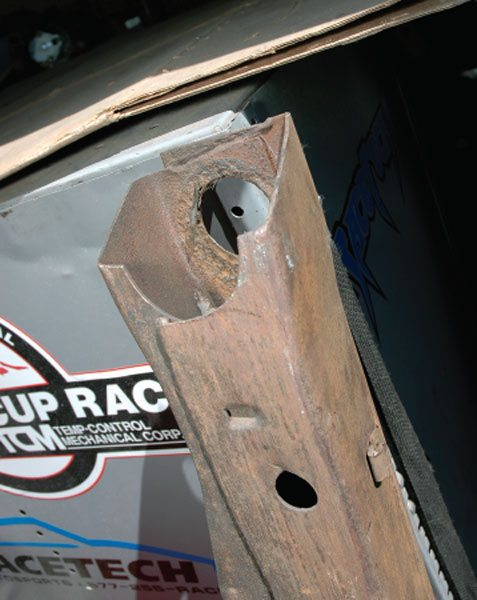 This front subframe end looks more like what you're likely to find in a car. Insert the front end of your brace into this square opening.