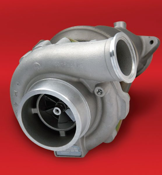 The Garrett PowerMax, models GT3782R and GT3788R, for the Dodge Cummins engines come in three stages of flow. The Stage III turbocharger will support nearly 400 hp over stock. This turbocharger has a water-cooled bearing housing to help it operate reliably while making gobs of horsepower and torque. (Courtesy Honeywell Turbo Technologies)