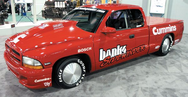 Project Sidewinder from Gale Banks Engineering became the world's fastest sport truck and used Cummins diesel power in a modified 5.9-liter engine. Project Sidewinder uses Holset turbocharger technology. A modified HY55 variable geometry turbocharger was used for maximum power during Bonneville speed record runs. (Courtesy Gale Banks Engineering)