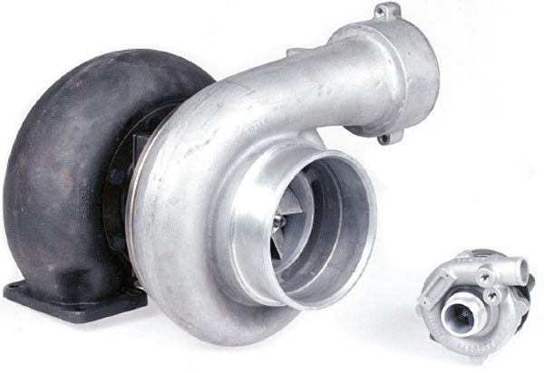The current Garrett turbo model line-up is the GT series turbochargers. Pictured are a GT60 and a GT12.