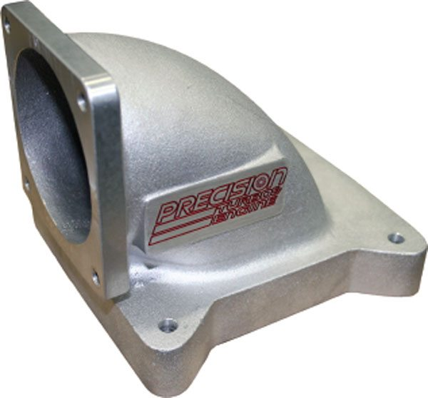 This intake piece from Precision Turbo and Engine is really more of a transition/adapter than a plenum. It is intended for competition where there are only two throttle positions.