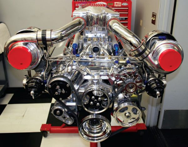 The engine room at Gale Banks engineering and another twin turbo system and engine build underway.