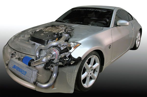 Turbonetics Makes a complete turbo kit which includes their Spearco aftercooler that fits the 2003-2005 Nissan 350Z and Infiniti G35. Turbo system adds an additional 163 horsepower taking the turbocharged engine to 450 horsepower. That's about a 57% horsepower increase over stock from about 8.5 lbs. of boost, and it's compatible with 94 octane premium pump gasoline. (Courtesy Turbonetics)
