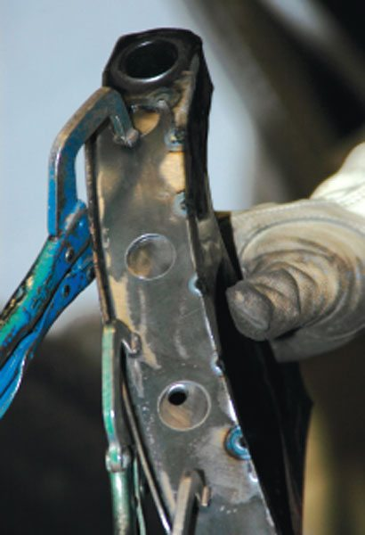 Tack welds with the TIG welder let us be sure that we had the strap positioned correctly