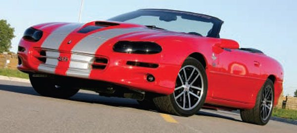 The Chevrolet Camaro SS as delivered with 320 hp in 2002 was king of the ponycar wars. This particular example is equipped with a supercharger, bigger cam, and about double the power. (Nate Tovey)