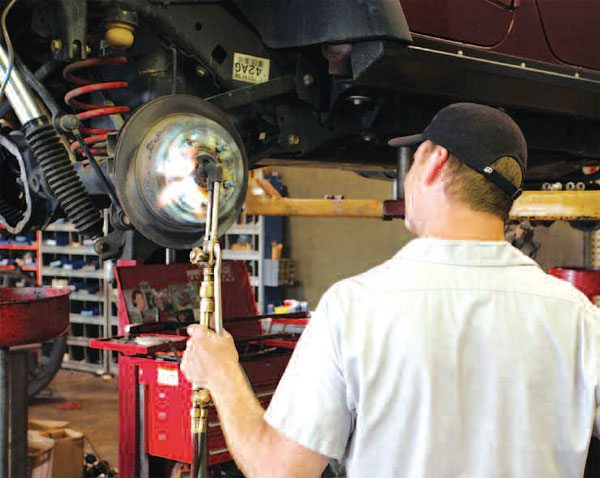 """Some brake drums or rotors that have not been removed for decades or are corroded, rusted, and almost always difficult to remove. As a last resort, you may need to bring out the """"gas ax"""" and apply some heat. (Randall Shafer)"""