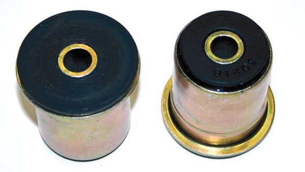 Here are some typical polyurethane control arm bushings. These replace the factory rubber inserts and don't flex nearly as much. This set is from Energy Suspension.
