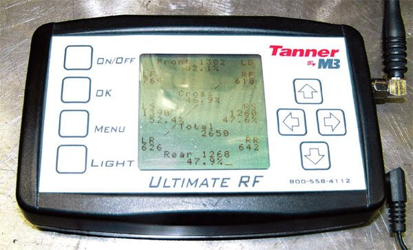 This is a typical scale readout monitor. It shows the actual weights and percentages on each tire, in addition to the cross-corner readings, left- and right-side comparisons, front-to-rear comparisons, and total vehicle weight (2,650 pounds in the center).