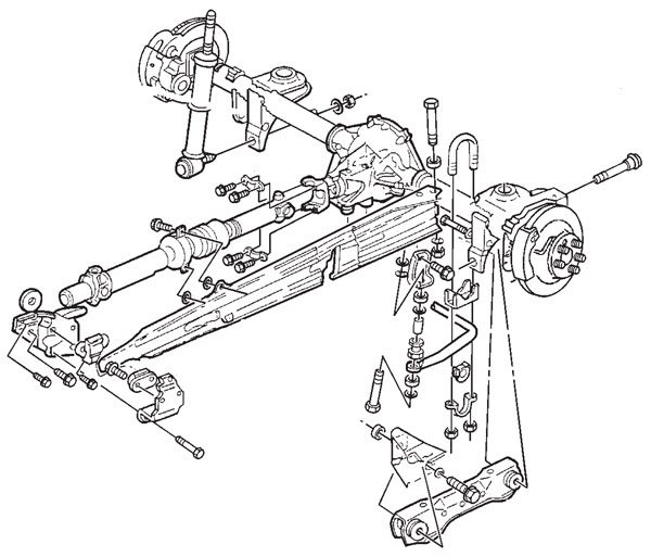 This exploded-view drawing shows all the major components from the GM F-Body three-link rear suspension system used on third- and fourth-gen cars. The single torque arm is clearly visible, extending forward from the rear axle housing to the transmission tailshaft.