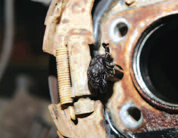 If your last resort was to apply heat to the drum or rotor, you may end up with some damage. Typically, the seals are ruined, but they should be replaced anyway so this isn't a concern. In this situation, we actually ended up melting the speed sensor.(Randall Shafer)