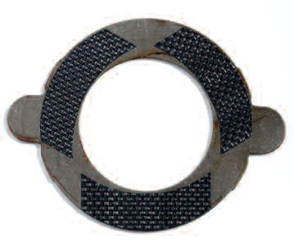 Here is a typical tabbed-style clutch plate, which happens to have woven carbon fiber as the friction material. The carbon-fiber material resists wear and can handle higher temperature when compared to traditional paper-based friction.