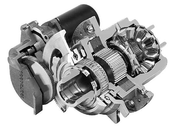 On this sectioned ETM eLSD, you can see the electric drive motor, gear reduction, and ball ramp on the upper left side. The differential and clutch packresemble those of a traditional mechanical system, except that the clutch pack is all on one side of the differential. This clutch pack does not rely on side-gear separating force to engage and is fully controllable. (GKN Driveline)