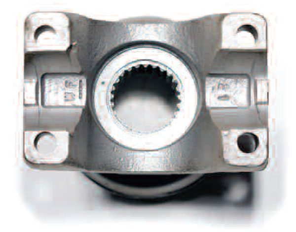 The half-round pinion axle flange has two half-circles machined into the flange at the 3 and 9 o'clock positions. This style uses two straps and four bolts to hold the bearing cups in place. Also notice the tabs sticking up on the extreme ends in the circles act to locate the bearing caps.