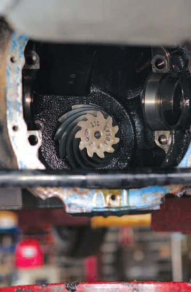 Once the differential and ring gear are removed, you should have a good view of the pinion head. This factory gear actually has the 3.73:1 ratio stamped into the pinion head along with the part number. (Randall Shafer)