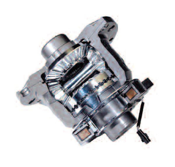 This OEM-style locking differential features a dog clutch that can be engaged and disengaged across the differential. The electromagnetic coil (lower right) electronically actuates the dog clutch. (GKN Driveline)