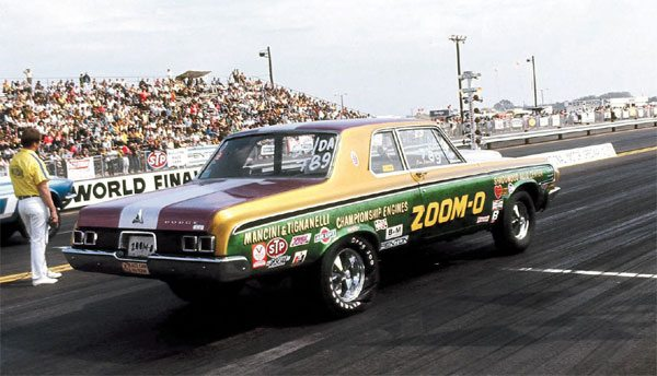 This 1964 Dodge is also Hemi-powered, and was photographed at the 1969 NHRA World Finals in Dallas, Texas. The torsion-bar-equipped Mopars work just fine at the drag strip, as many years of success in the Stock classes will attest.