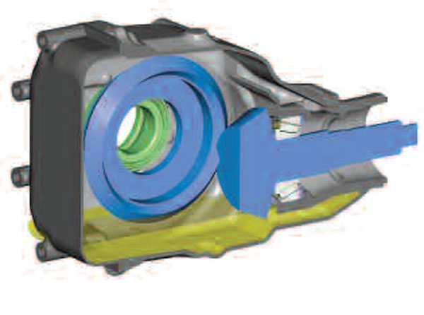 3)This illustration of the lube sump shows the gears at rest. The differential has been omitted, so you can see that the oil level partially submerses the ring gear. (GKN Driveline)