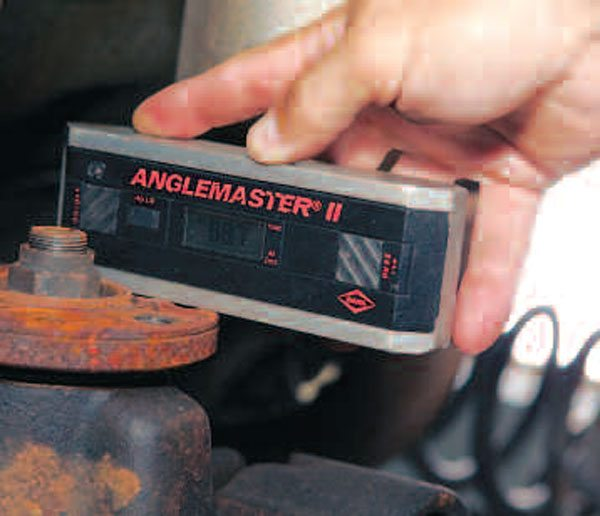 An angle finder measures the pinion angle. There are many different methods to perform this task, but this direct-measurement method is the most precise. (Randall Shafer)