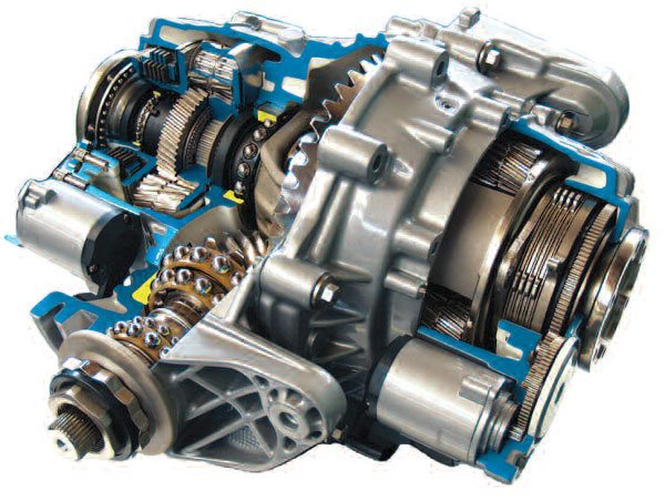 A sectioned torque vectoring rear axle has an actuation that's similar to the eLSD and has additional gearing on each end. This gearing is selectively engaged and over speeds or under speeds the wheels when required. You may have also noticed that this axle does not use traditional tapered roller bearings but actually tandem ball bearings from the Schaeffler Group in order to reduce bearing drag. (Schaeffler/Joe Palazzolo)