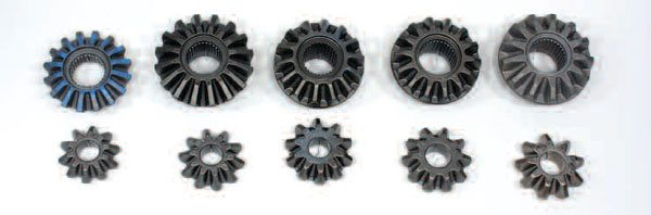 Here are the various Ford differential gears that are available. From left to right: 7.5-inch 28-tooth spline 10 x 16 tooth combination (blue), 8.5-inch 28-tooth spline 10 x 16 tooth combination, 8.8-inch 28-tooth spline 10 x 14 tooth combination, 8.8-inch 31-tooth spline 10 x 14 tooth combination, 8.8-inch 31-tooth spline 9 x 13 tooth combination.