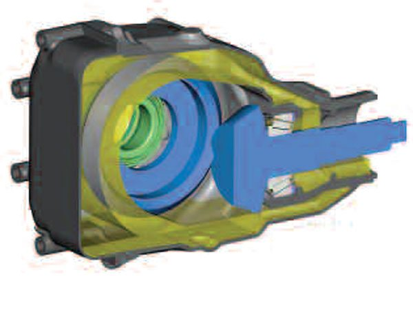 5)When the gears begin rotating, oil flow looks like this. The gold color shows the path of oil as it flows through the axle housing. The blue pinion and ring gear transfer torque and drive the rear axle. Notice that the ring gear picks up oil from the sump and directs it to a port, which fills the space between the pinion bearings. (GKN Driveline)