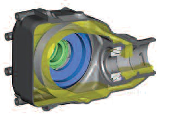 6)As in the earlier illustration, the pinion has been omitted for clarity. Now you can see that the bottom ledge of the return port at the front of the axle controls the oil level to the pinion tail bearing. (GKN Driveline)