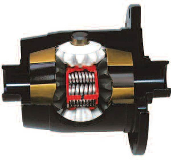 8)This sectioned Auburn cone-style differential clearly shows the conical shape on the back surface of the side gears (gold). This is reached by the inner surface of the differential housing. The Auburn Pro and High Performance series are offered. The main difference being the Pro Series has a higher bias ratio (around 3.5:1) than the High Performance Series (2.5:1). (Auburn Gear)