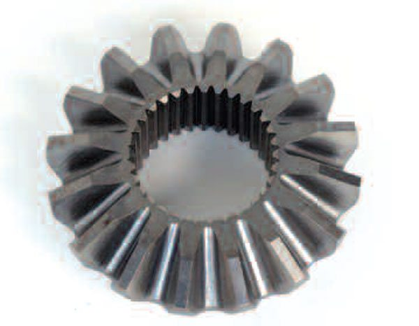 The Revacycle gear is a cut gear as opposed to a net-forged gear. There are serrations from the cutting process on the gear tooth surfaces and there is no webbing on the inside or outside of the gear.