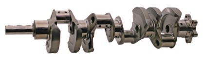 Shaped counterweights use various strategies to combat crankcase windage. This Scat crankshaft incorporates Aero-Wing counterweights, which are custom shaped to cut cleanly through the oil mass while the pendulum cut reduces weight and concentrates it in the most desirable location for optimum balance. (Courtesy Scat Enterprises)