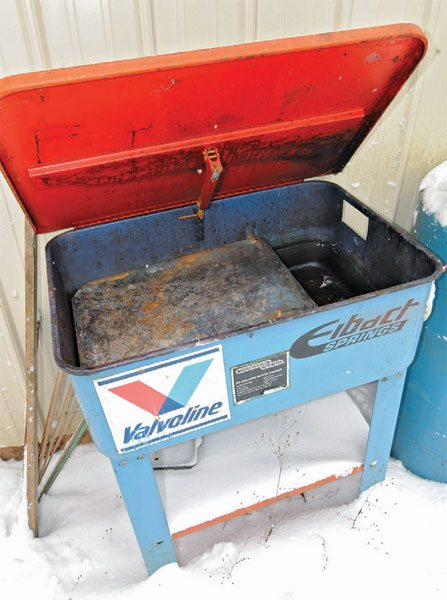 It's good to have an old parts washer and a new one. Leave the old one outside for use with harsher cleansers, such as oven cleaner, Diesel fuel, or other flammable or vapor-producing agents.