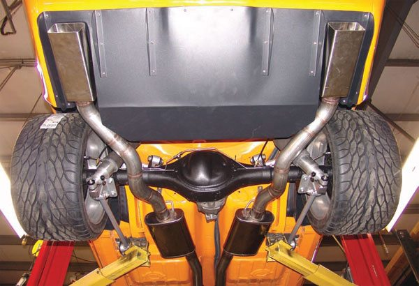 This bottom view of RideTech's Camaro, Velocity, shows just how big a 335-mm-wide tire is. This car is equipped with their AirBar system. The Chassis-works G-Bar is similar and accommodates the same size tires. Their G-Link adjustable rear suspension has a mini-tub-specific version. All of these naturally require deep tubs to achieve the necessary wheel-well room. (Photo Courtesy RideTech)