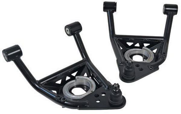 This series of lower A-arms from SPC Performance represent some real innovation. They use SPC's signature modularity to add some useful features. The modular lower spring seat accepts conventional coil springs, coil-over conversions, or Shockwaves. It has adjustable ride height via spring seat inserts. The geometry of the arm is designed to maximize tire clearance at higher-than-stock positive caster settings. The faceted spring pockets are a structural part of the arms, helping to make them among the lightest and strongest arms available. They're also available with late-model-style, cellular-vulcalon progressive-rate jounce bumpers, to replace old hard-rubber bump stops. (Photo Courtesy SPC Performance)