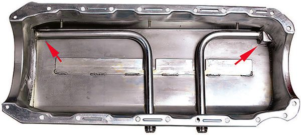 This dry sump oil pan has two pickup points on the side of the pan and one each at the front and rear in case the side pickup encounters chassis fitment issues. The tubes inside the pan are connected to the pan outlets. They have slots in the bottom to pick up sump oil from the bottom of the pan.