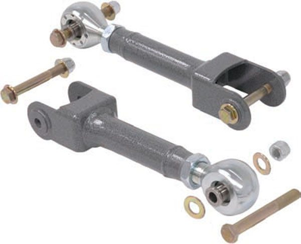 """These Chassisworks arms have TrueCenter Delrin race flex joints and are """"single-adjustable,"""" which means they have a single locking nut and one mounting bolt must be removed to adjust them. This takes a little longer to adjust than the """"double-adjustable"""" format, but once installed it can't turn more than a few degrees even if the jam nut is loose, making it extra failsafe. (Photo Courtesy Chris Alston's Chassisworks)"""