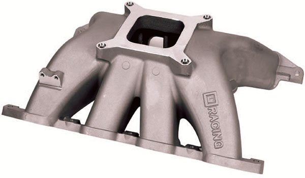 Some race intakes incorporate a sepa¬rate cooling manifold to direct water to each cylinder head for addi¬tional cooling, particu¬larly around the area of the exhaust valve. This example is a Chevrolet RO7 Sprint Cup manifold.