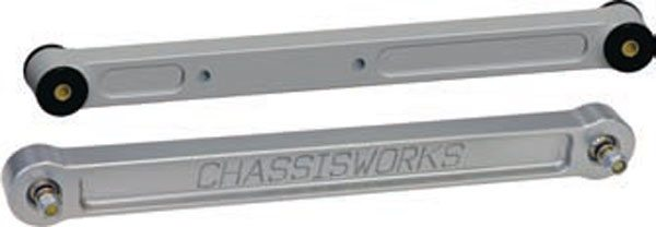 Greasable flex joints are a better all-around solution for street cars. The lower arm is a billet-aluminum unit with Delrin race TrueCenter pivots on each end. These have better NVH isolation than Heim joints and mono balls (metal spherical bearings in general). The closed construction, wider synthetic races, and grease all seal dirt and moisture out for a long, quiet service life. They flex through the same wide range of motion as a Heim joint to eliminate torsional binding. (Photo Courtesy Chris Alston's Chassisworks)