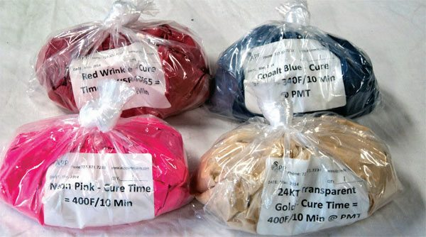 These powders were bought online, and include red wrinkle, cobalt blue, trans-parent gold, and neon pink.