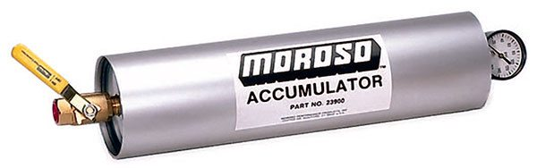 An accumulator is a pressurized remote oil supply that provides temporary full-pressure oiling prior to engine startup or whenever a pump issue causes an interruption or complete failure of the oil supply.
