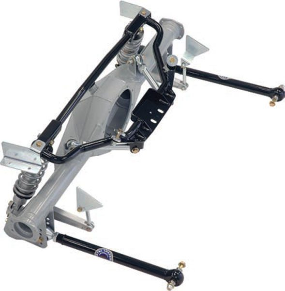 If you do decide to do away with the leaf springs, there are some great choices for link/coil-over systems as well. This is a Chassisworks G-Link with the splined-end tubular sway bar option. It has the adjustable-length steel lower trailing arms with greaseable Delrin race flex joints at both ends and at the upper arms. This system is very adjustable and versatile. (Photo Courtesy Chris Alston's Chassisworks)