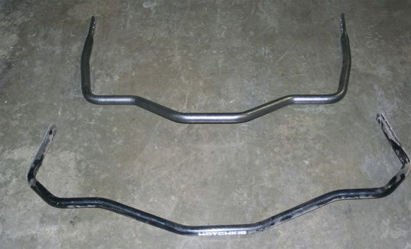 Hellwig chassis-mount rear bar (top) and Hotchkis control-arm-mount bar (bottom).