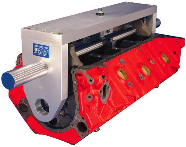 Shops already equipped with a line boring machine can use BHJ's cam tunnel alignment fixture to index the cam tunnel parallel to the crank centerline. (Courtesy BHJ Products)